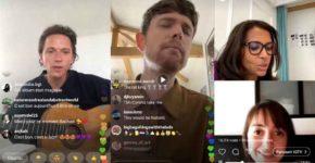 captures d'écran de plusieurs live instagram