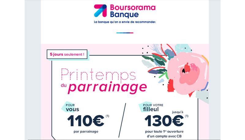 offe parrainage boursorama 130€